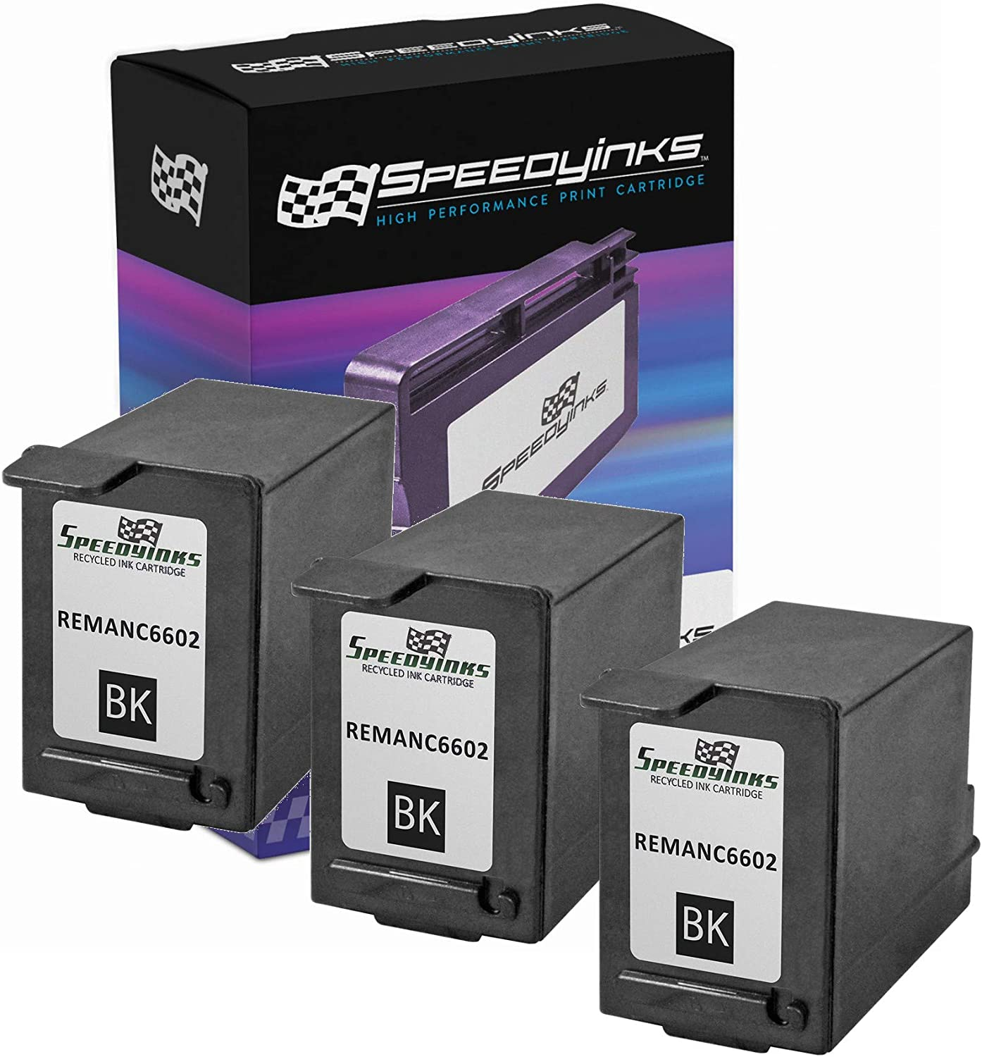 Speedy Inks Remanufactured Ink Cartridge Replacement for HP C6602A (Black, 3-Pack)