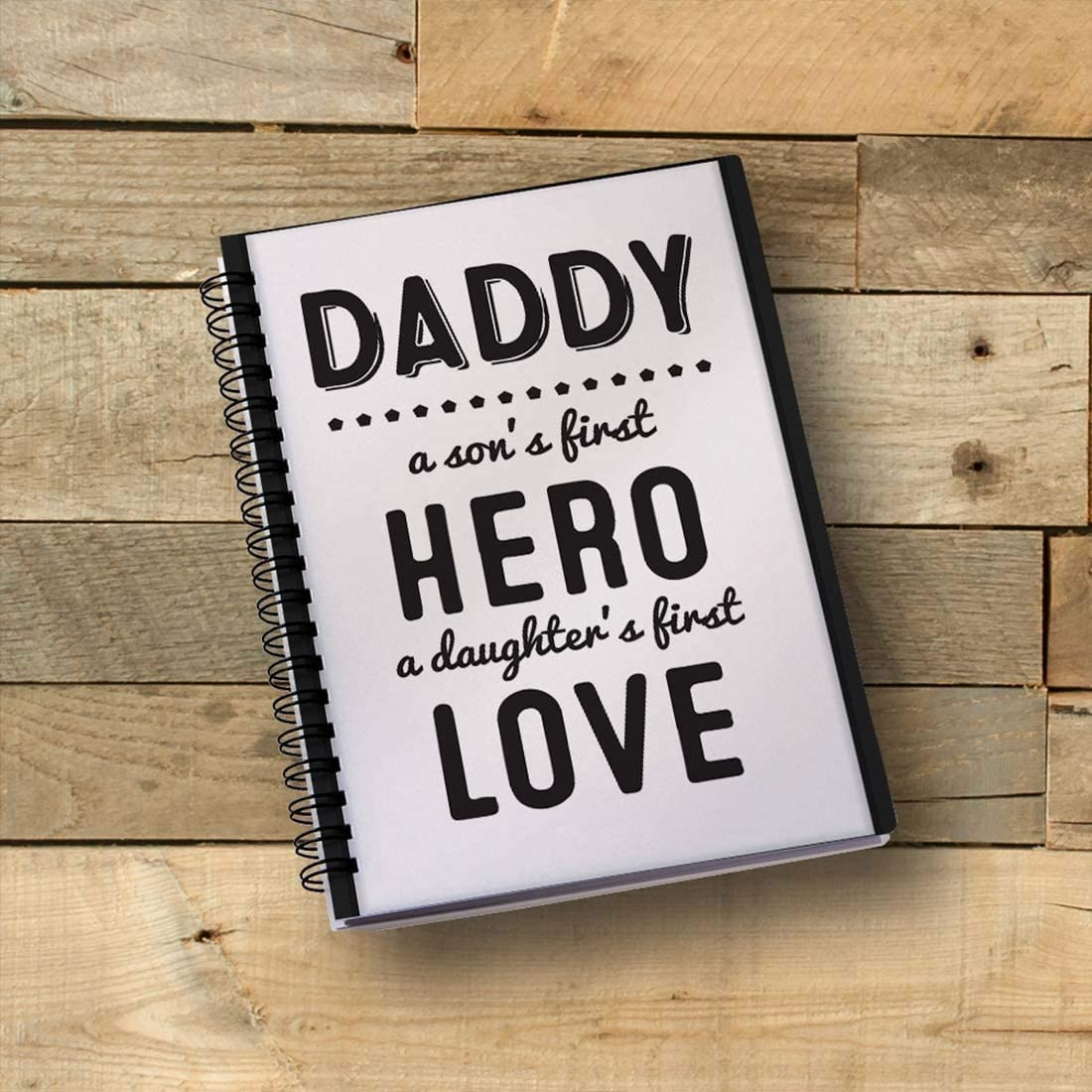 GiftBlitz Notebook A5 Spiral Wirebound Daddy Sons First Hero and Daughters First Love Pattern 170 Pages 80gsm Notepad Diary Office School Students Stationery