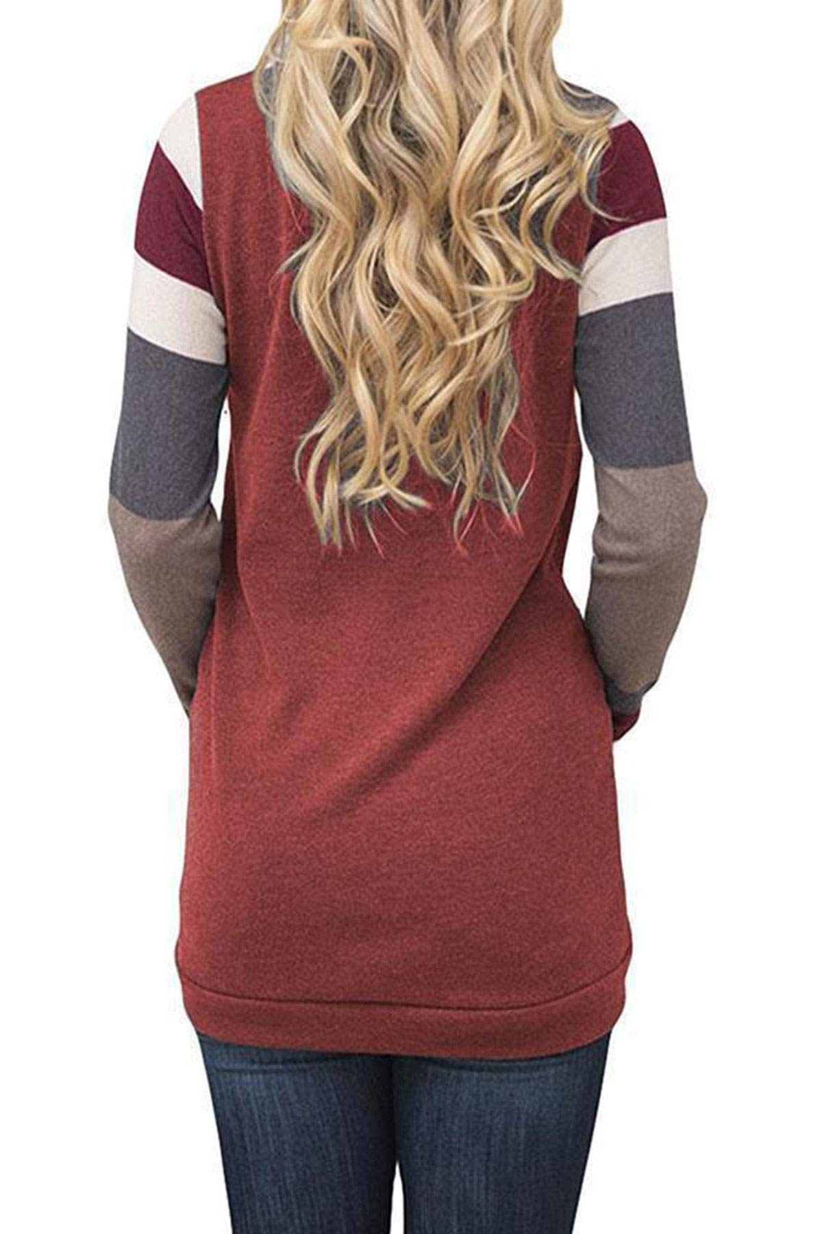 IMIDO Womens U Neck Tops Striped Color Block T-Shirts Casual Pullover Lightweight Long Sleeve Tunic Blouses (M, B-Wine Red)