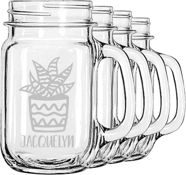 Cactus Mason Jar Mugs (Set of 4) (Personalized)
