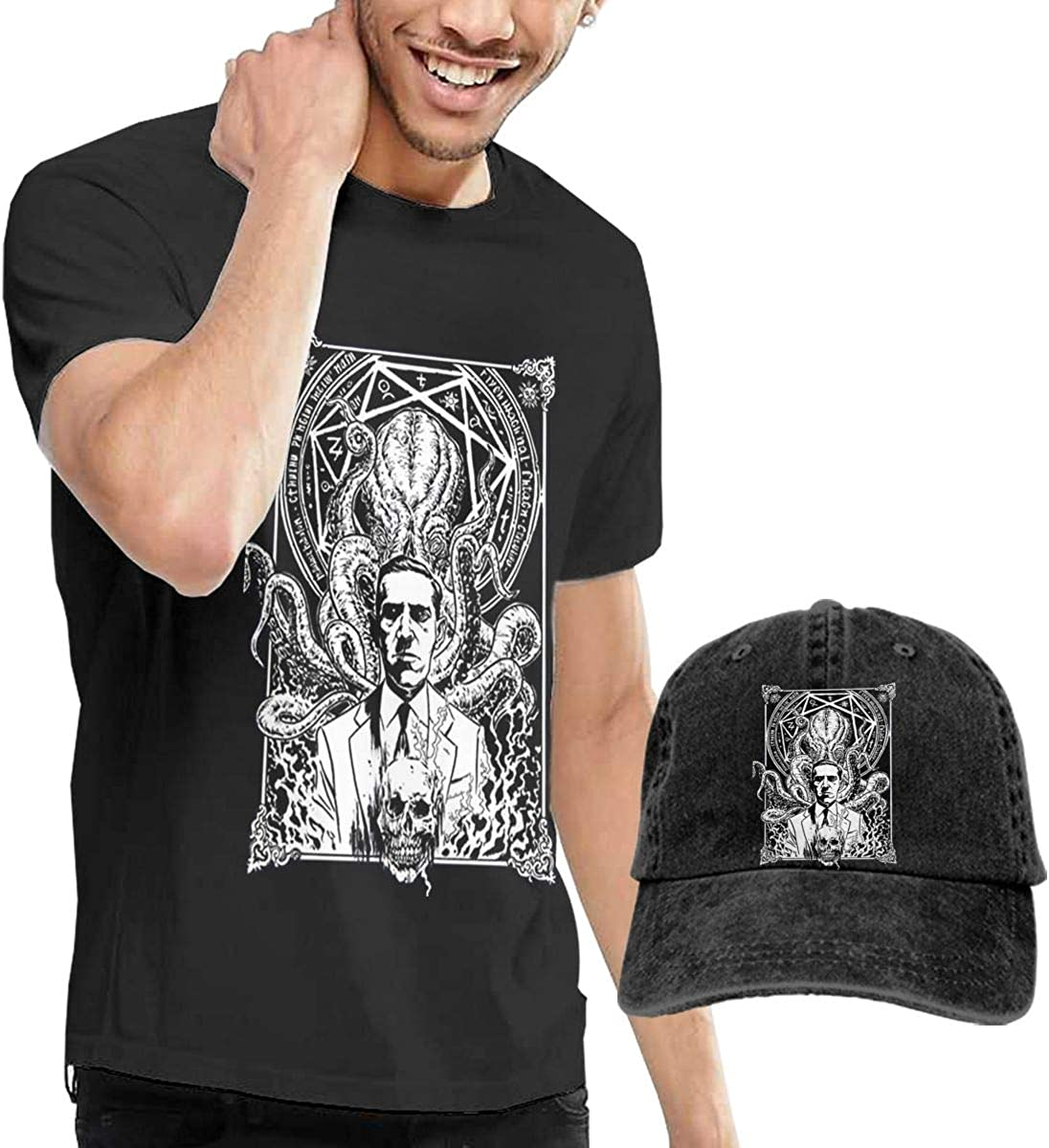 Hp Lovecraft Fashion T Shirt+Cowboy Hat for Men's Black