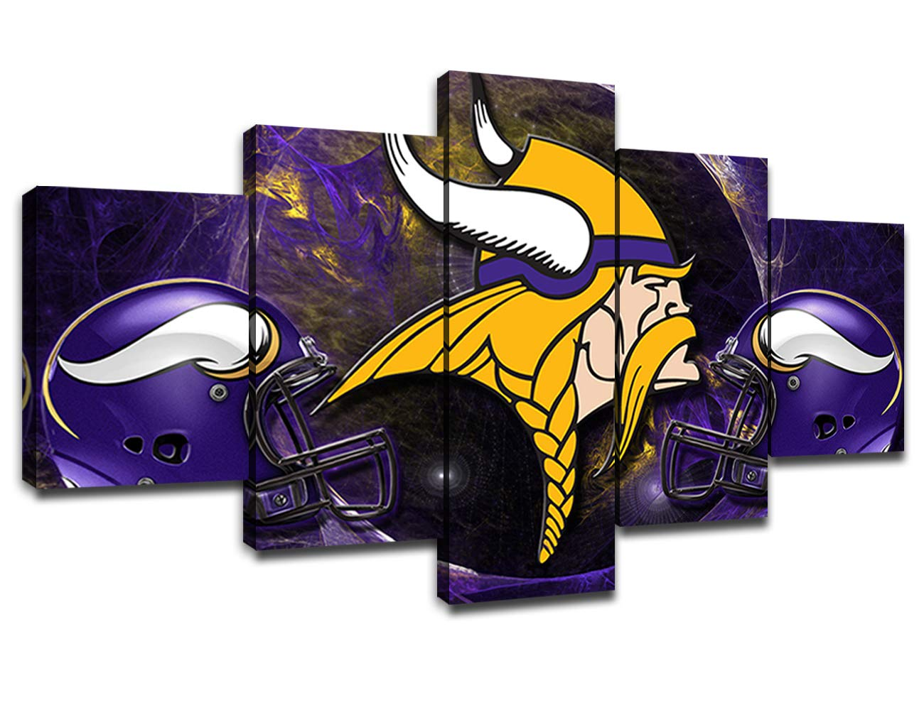 Minnesota Vikings NFL Team Logo Framed Wall Art Decor Modern Art Paintings 5 Piece Canvas Home Decoration Wall Picture Home Artwork American Football Prints Poster(60''Wx32''H)