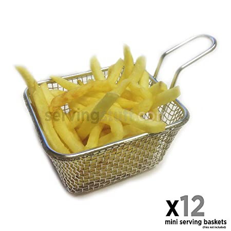 Juego de 12 mini cestas para servir – Mini cestas freidoras – ideal para patatas fritas, cuñas, aros de cebolla, pollo, scampi: Amazon.es: Hogar