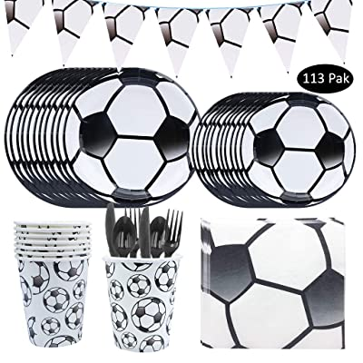 113PCS Soccer Party Supplies, DreamJ Soccer Disposable Tableware Set with Plates,Cups,Spoons Knifes Forks for Boys, Baby Showers Birthday Sports Themed Party Decorations Serves 16: Toys & Games