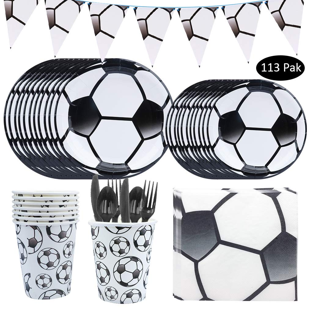 113Pcs Soccer Party Supplies, Dreamj Soccer Disposable Tableware Satz mit Plates,Cups,Spoons Knifes Forks für Boys, Baby Showers Birthday Sports Themed Party Decorations Serves 16