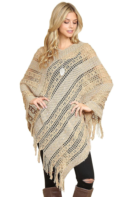 Classic Soft Warm V Neck Sequin Crochet Fringe Loose Cape Poncho