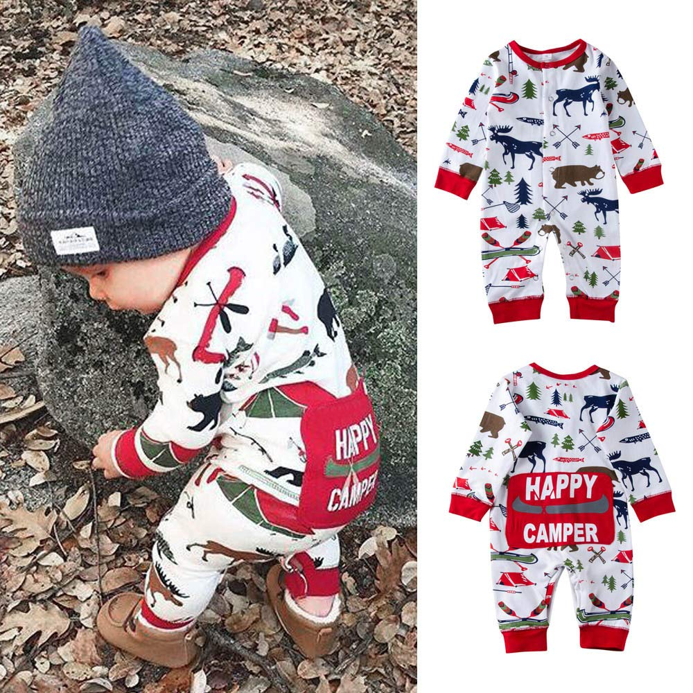 Matoen Baby Boys Girls Cartoon Happy Camper Letter Print Romper Jumpsuit Outfits
