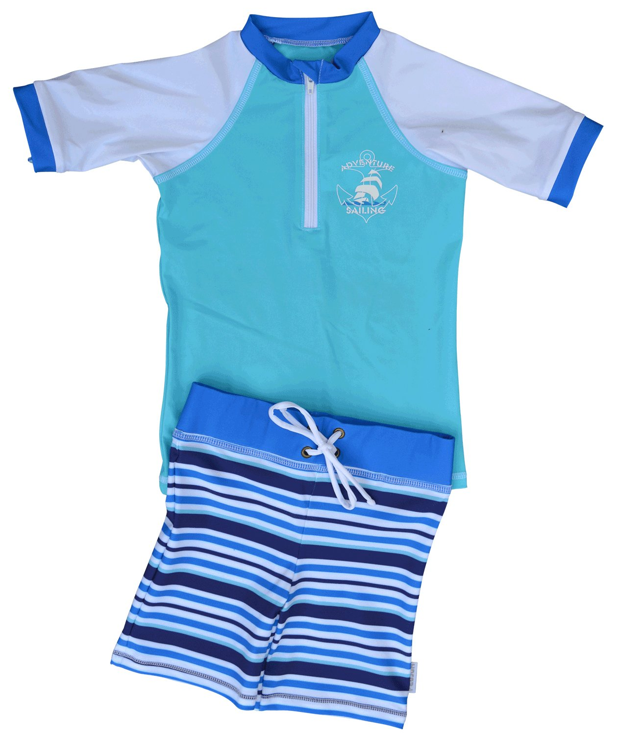 FEDJOA Little Boy's Sailing Sun Protection Swim Set Upf 50+ 5-6 Years 39-46 Lb (18-21 Kg) Blue by FEDJOA