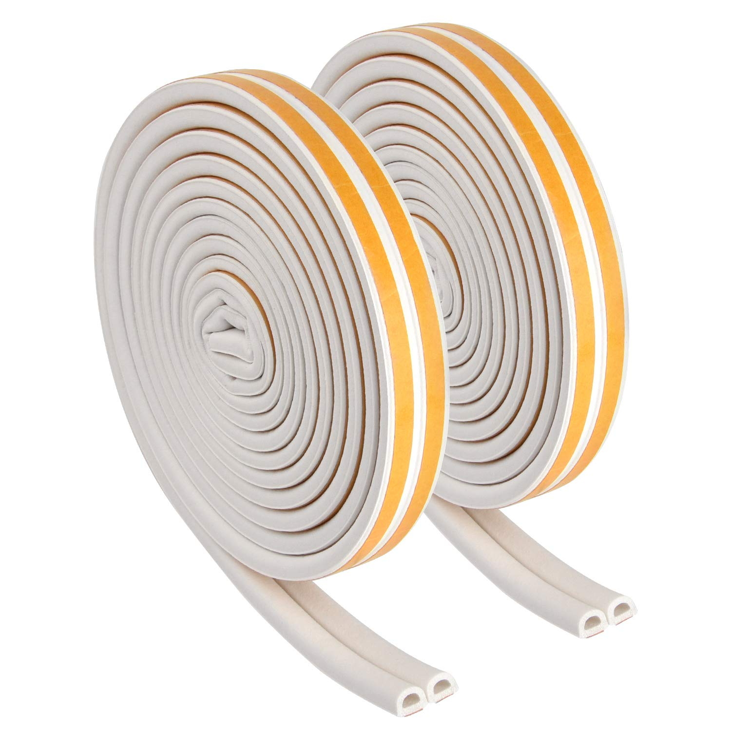 TUPARKA 2 Rolls Rubber Seal Strip D Type Foam Seal Tape Self-Adhesive Home Window Door Soundproofing Avoidance Weather Strip 12M(After Being Divided)