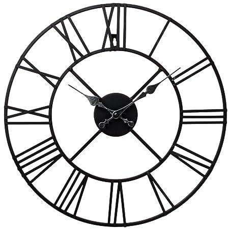 stunning metal roman numeral clock black iron amazon co uk