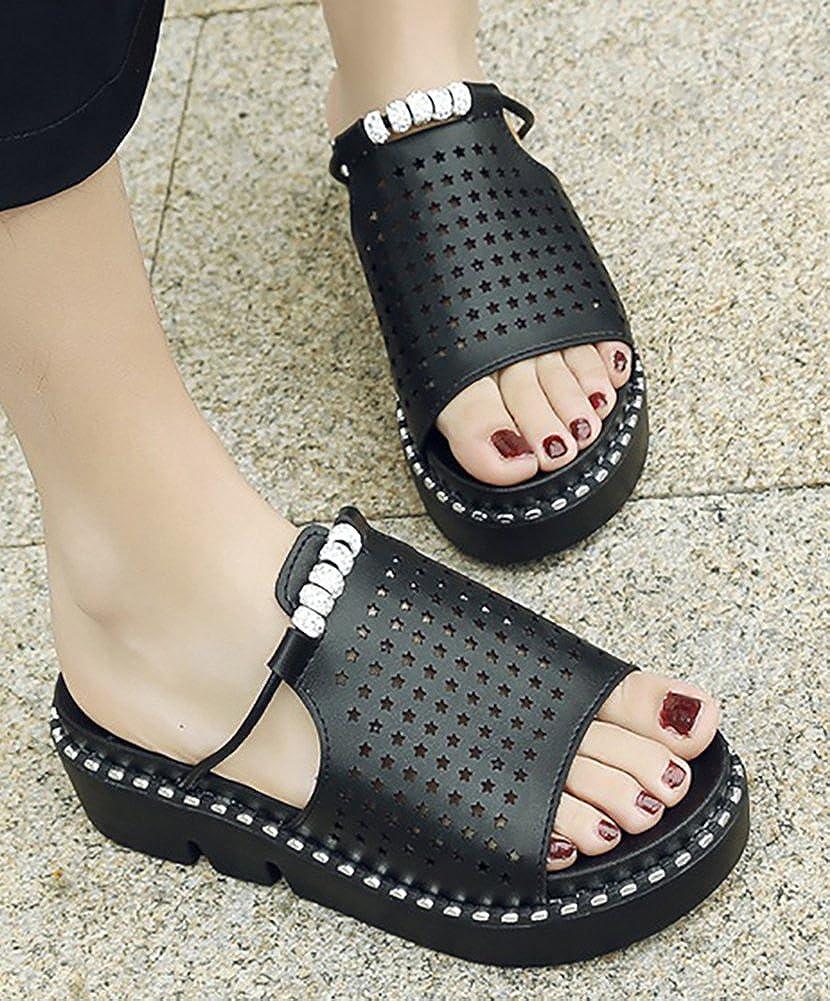 Mofri Womens Comfortable Rhinestones Cut Out Open Toe Platform Mid Heel Slide Sandals