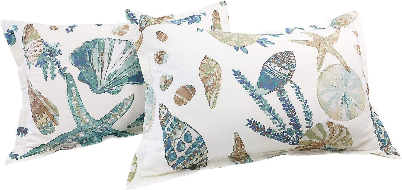 Amazon Com Fadfay 20x36 Pillowcase Beach Themed Seashells And Starfish Print Shams 100 Cotton Pillow Covers 2pcs King Cal King Size Home Kitchen