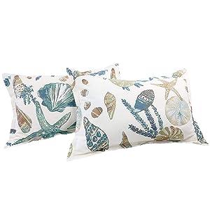 FADFAY 20X36 Pillowcase Beach Themed Seashells and Starfish Print Shams 100% Cotton Pillow Covers, 2Pcs, King/Cal King Size