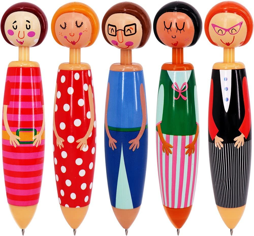 SunAngel Originality Fashion Designed Doll Pen Cartoon ballpoint pen,Cute Creative Stationery and Office Supplies(5PCS)