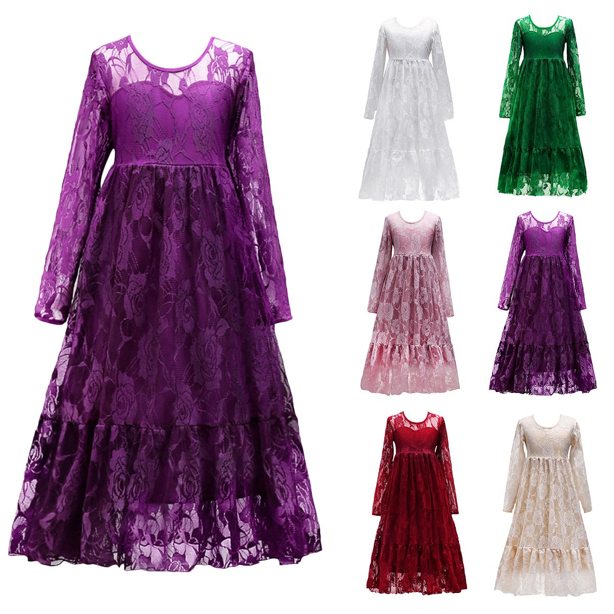 Niños niñas vestido de princesa mangas largas eventos encaje encaje ...