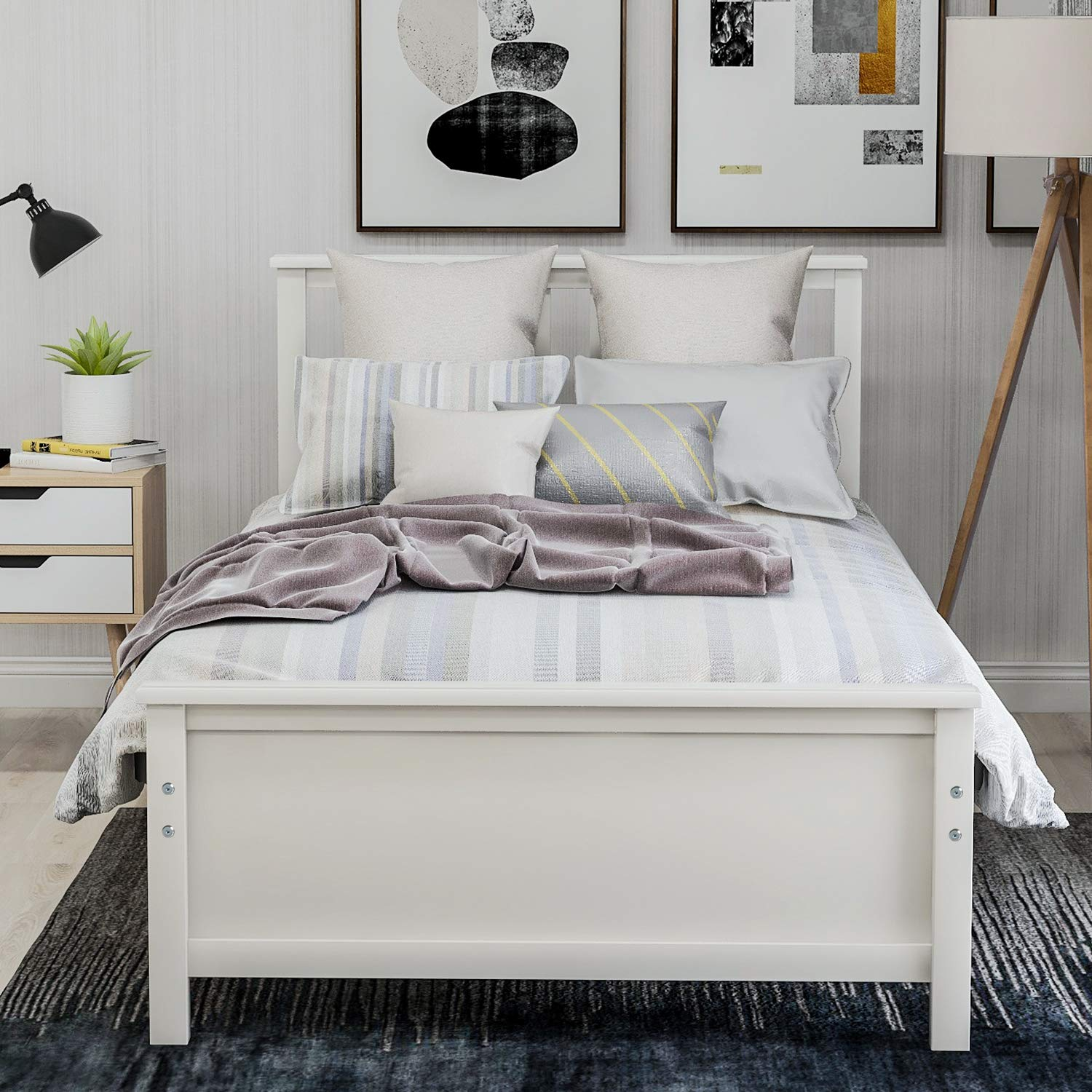Hooseng Twin Daybed with Trundle and 3 Storage Drawers Wood Platform Frame with Headboard Footboard Kids Bed, White 1