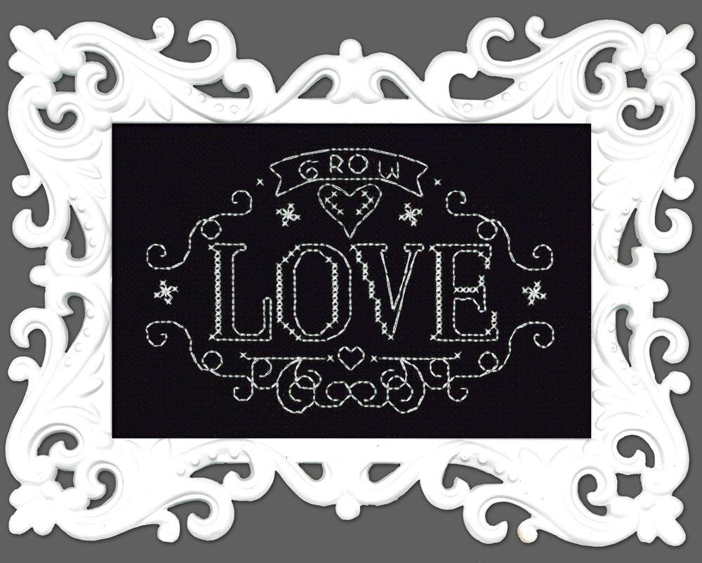 Progettazione Opere Punto croce grafico Love Grow 14 conte Aida nero con cornici in plastica bianca colore punto croce,