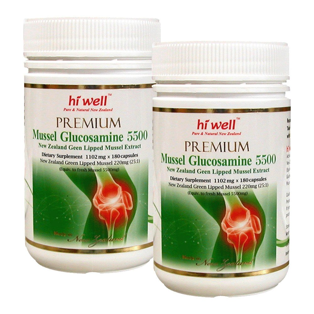 Hi Well Premium Mussel & Glucosamine 5500mg 180 Capsules New Zealand Green Lipped Mussel Extract Joint Health Supplements (Pack of 2)