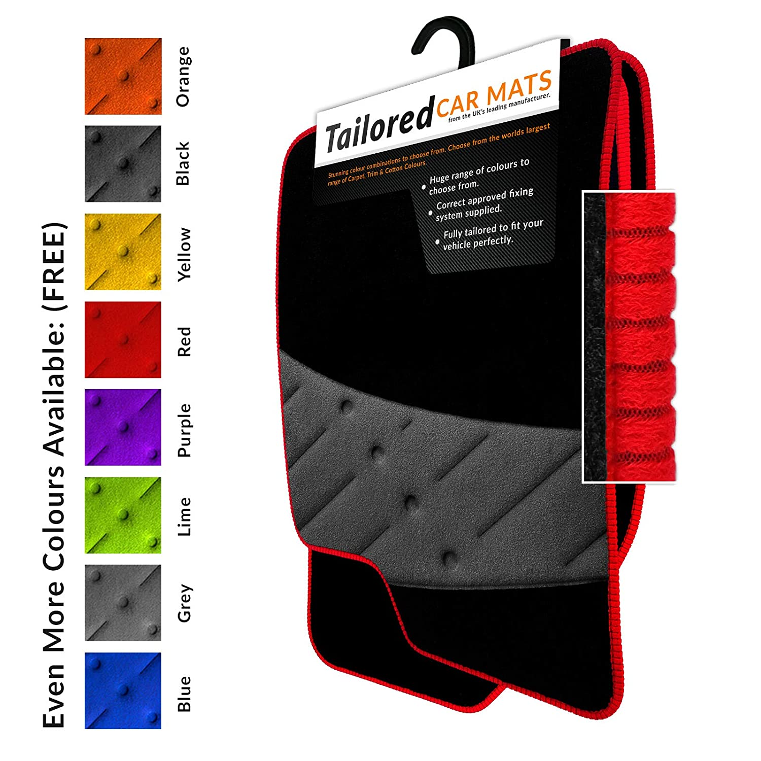 Fully Tailored Car Mats - Weld Wide Heel Pad - Black Carpet - Red Ribbed Trim - Black Heel Pad - Car Mats Unique Car Mats