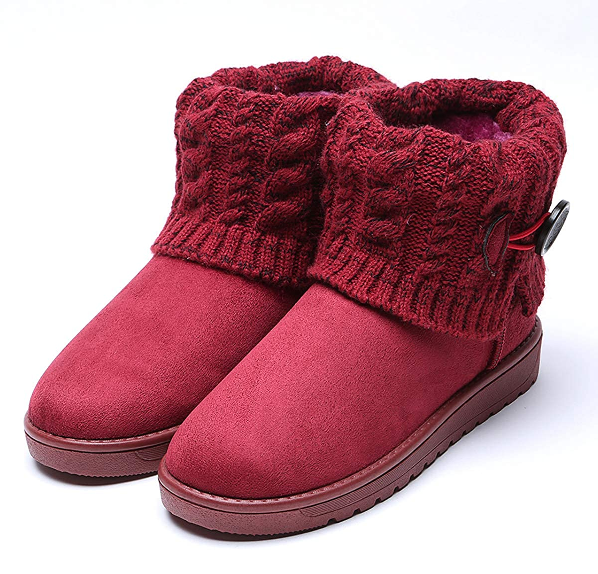 King Ma Womens Knitting Wool Flat Ankle Boots Winter Warm Snow Shoes
