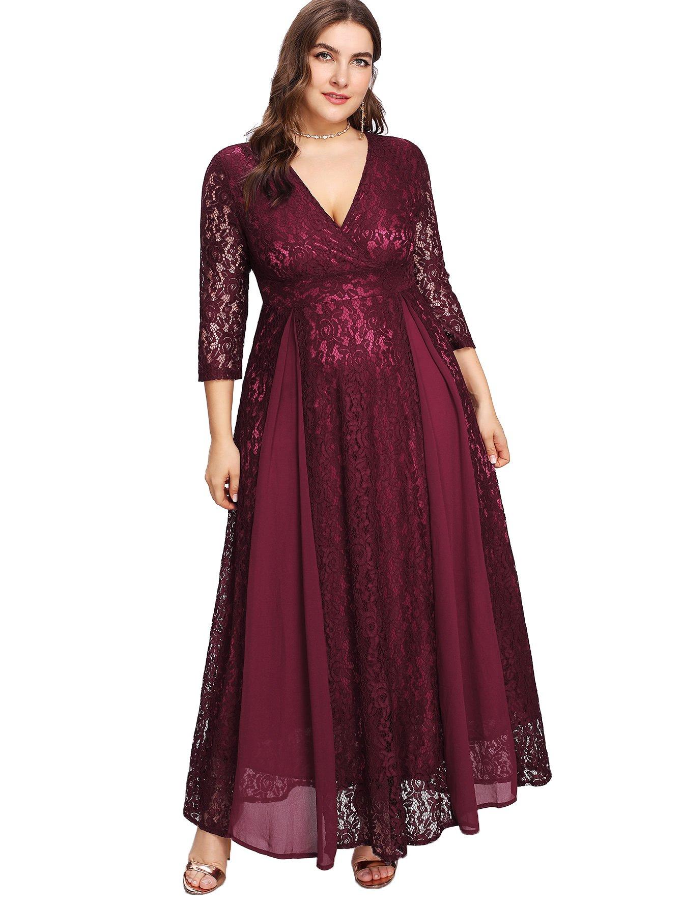 7931a296363 Floerns Women's Plus Size High Waist Lace Wrap Maxi Cocktail Party Dress  Red 5XL