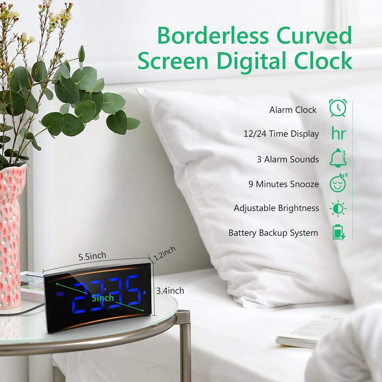 PICTEK Digital Alarm Clock, Bedside Clock with 5 Curved Screen, 6 Brightness Dimmer, Big Digital Display, Snooze, 12 24 Hour, Mains Powered, Alarm Clock for Bedroom Office