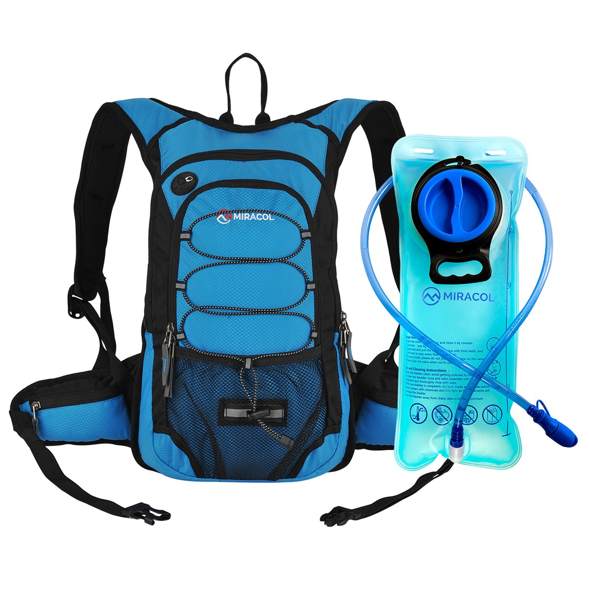 Miracol Hydration Backpack with 2L Water Bladder - Thermal Insulation Pack Keeps Liquid Cool up to 4 Hours – Multiple Storage Compartment– Best Outdoor Gear for Running, Hiking, Cycling and More