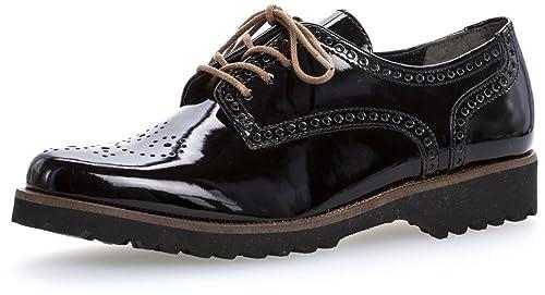 Gabor Schuhe Schnürschuhe Gr. 4 12 schwarz Leder TOP