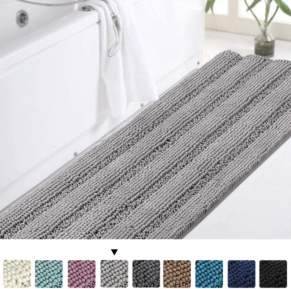 Luxury Bath Runner for Bathroom Gray Bathroom Rug 47 x 17 Inches Shaggy Bath Mat, Soft Plush Anti-Slip Shower Rug, Microfiber Shaggy Bathroom Mat Machine Washable Bath Rug for Bathroom, Dove Gray