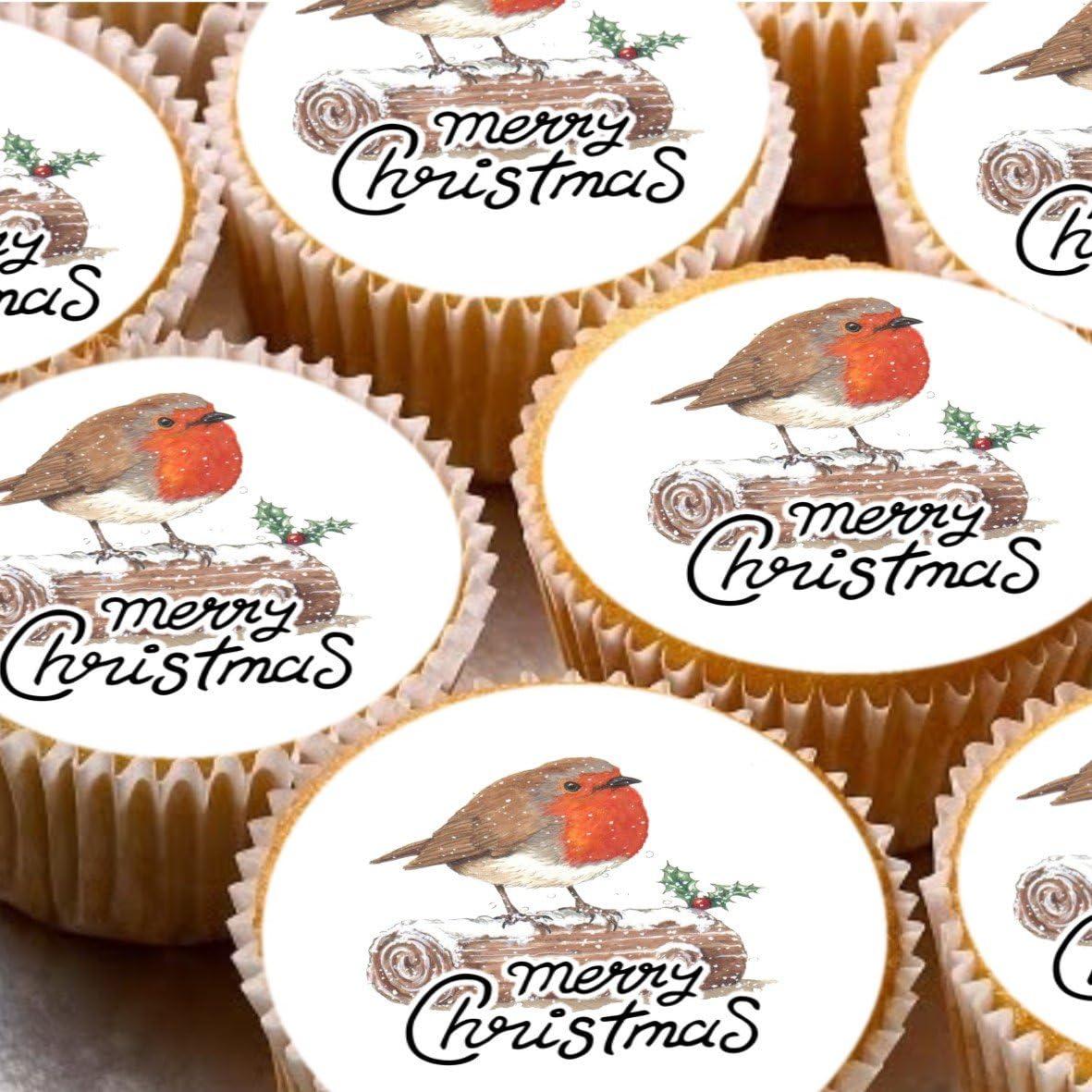 24 adornos para tartas de 4 cm con diseño de robot de Navidad y pájaros: Amazon.es: Hogar