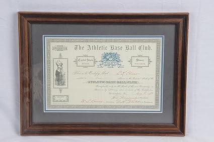1889 philadelphia athletics stock certificate at amazon s sports