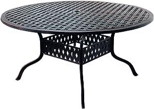 "K&B PATIO LD1031A-60 Nassau Round Dining Table, 60"", Antique Bronze"