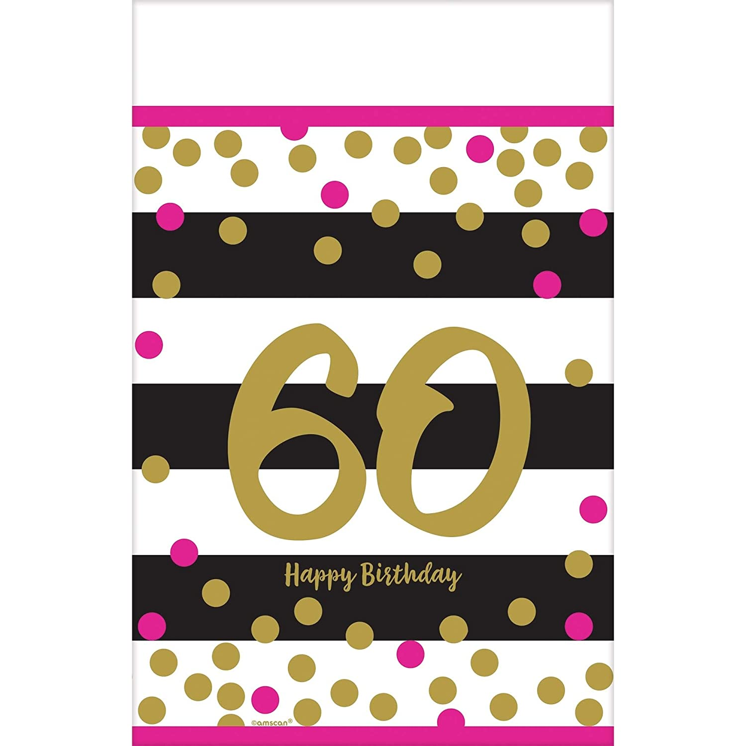 Amscan 571916 Party Supplies Pink /& Gold Milestone 60 Plastic Table cover 54 x 102 Multi