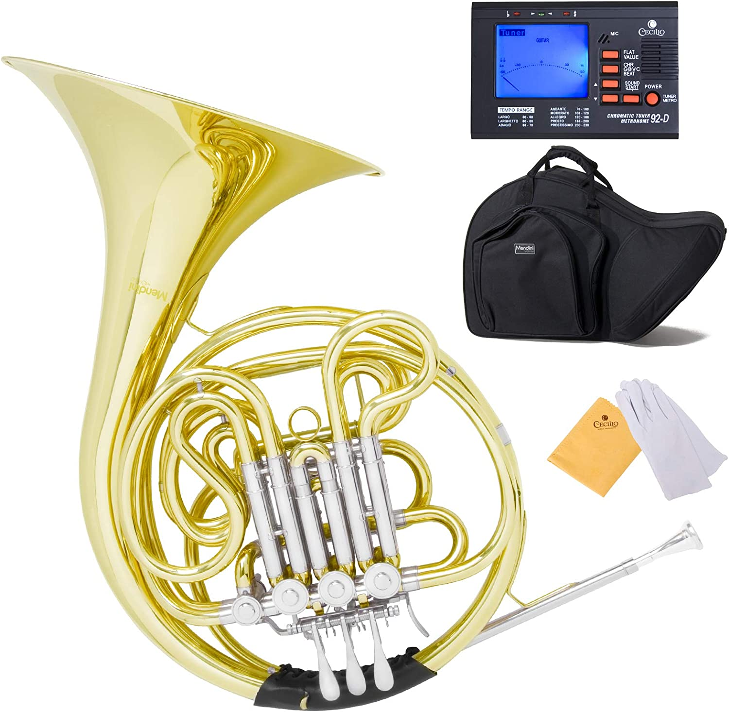 Mendini Intermediate Key of F/Bb Double French Horn with Solid Rotors String Lever Action, MFH-30L+92D: Musical Instruments