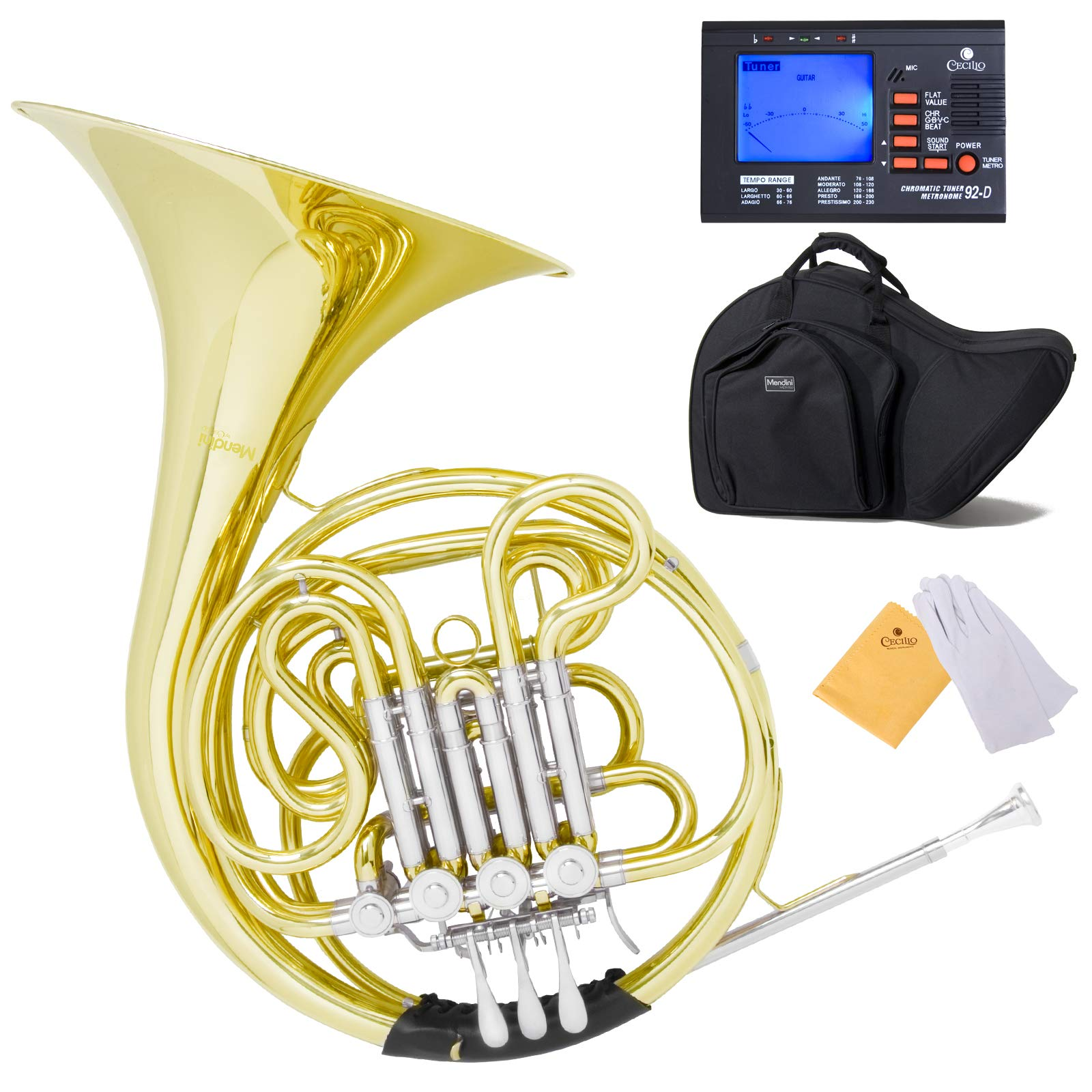 Mendini Intermediate Key of F/Bb Double French Horn with Solid Rotors String Lever Action, MFH-30L+92D by Mendini by Cecilio
