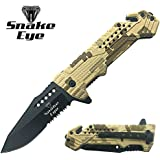 Snake Eye Tactical Survival Camo Designed Action Assisted Folding Pocket Knife Desert Camo Camping Hunting Fishing Outdoors