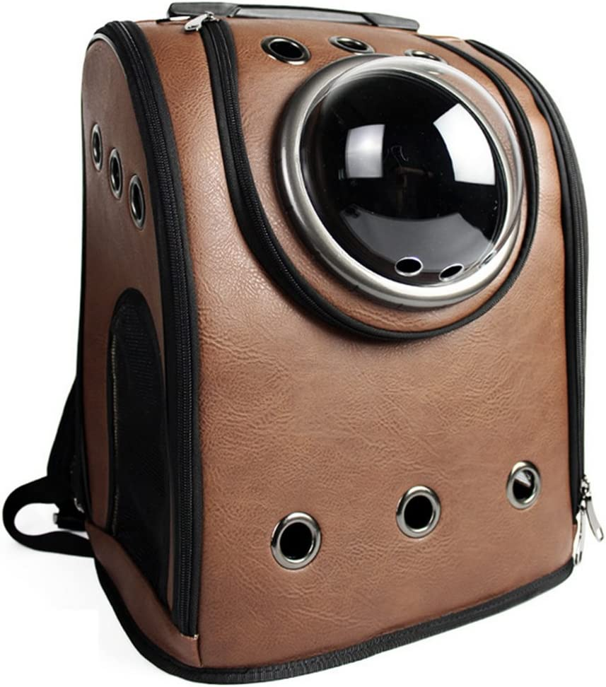 Petforu Pet Carrier Backpack, Space Capsule Dog Cat Small Animals Travel Bag – Coffee