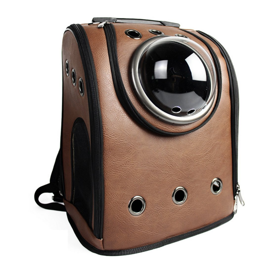 Pet Carrier Backpack, Petforu Space Capsule Dog Cat Small Animals Travel Bag - Coffee