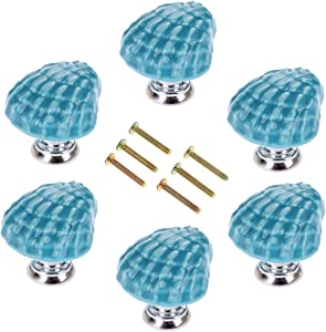 Corasays Shell Shape Drawer Cupboard Pulls Handles Wardrobe Drawer Cabinet Door Kitchen Knobs and Handles, Pack of 6 (Blue)