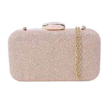 Dabixx Bolso de Noche para Mujer Cartera de Boda con Cremallera Embrague con Purpurina Bolsas de Hombro Rose Gold: Amazon.es: Hogar