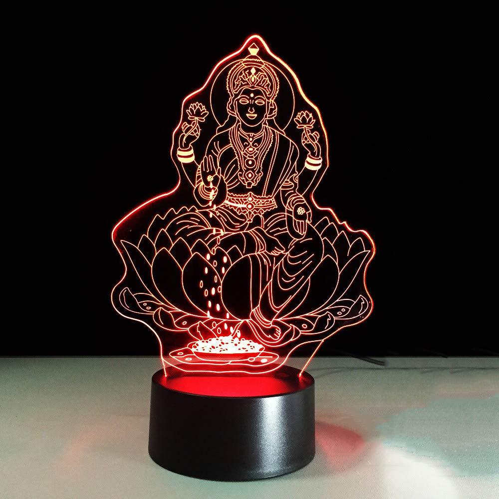 7 Farbwechsel 3D Lakshmi Modellierung Nachtlicht Led Indien Göttin Des Reichtums Schreibtischlampe Schlafzimmer Dekor Schlaf Beleuchtung Geschenke