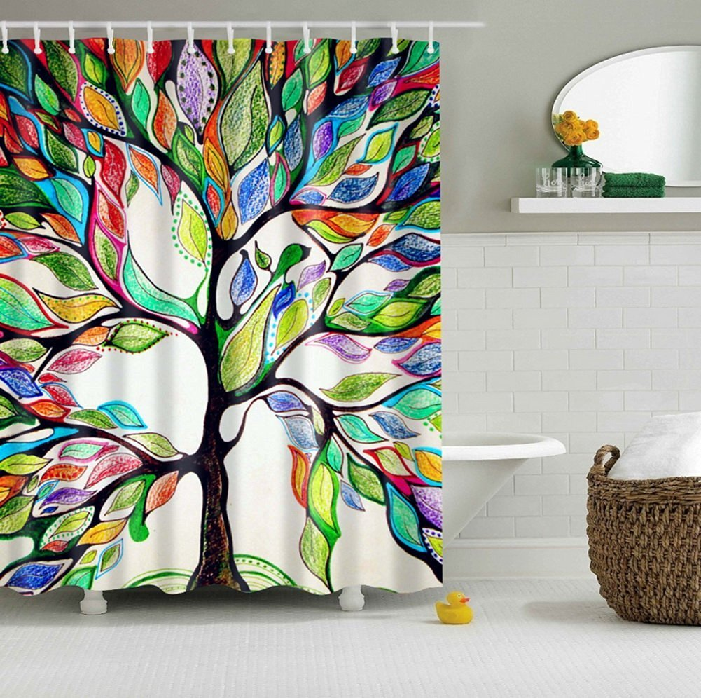 Shower Curtain , COFIVE Premium Bathroom Polyester Waterproof Colorful Tree Curtain with 12 Ring Hooks ,3D Printing ,Mouldproof Opacity, Non-Toxic, Non-Smelling, No-Hardening in Winter , Easy to Install &Clean ,180x180cm (Multicolor Tree)