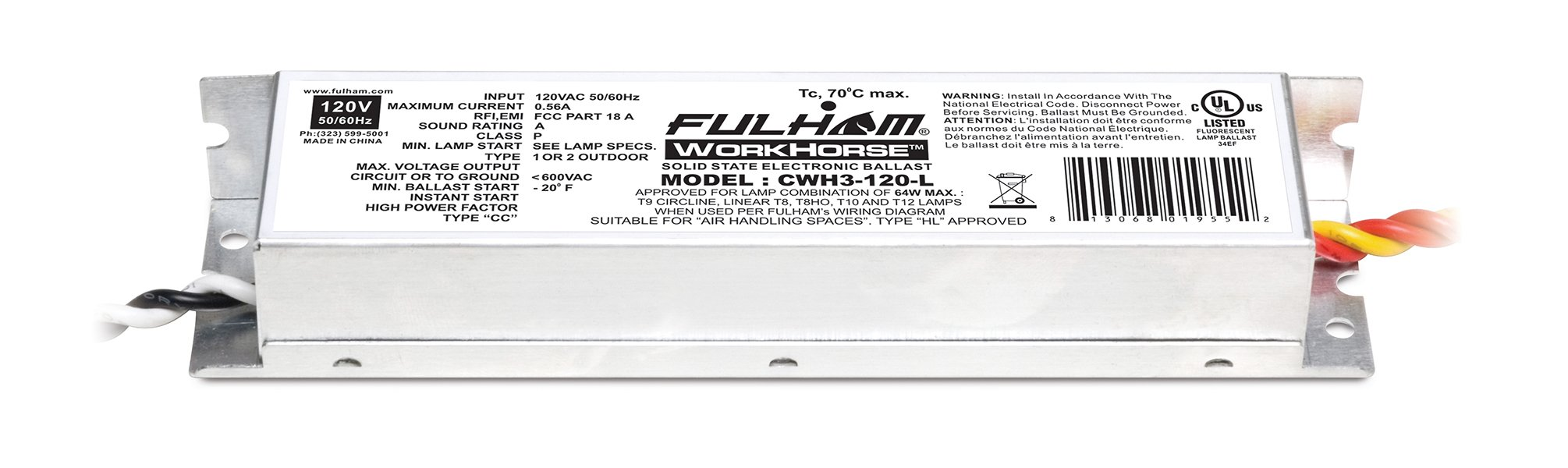 Fulham Lighting CWH3-120-L Canada Series-Workhorse 3-120V-Linear Model with Side Leads