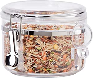 Acrylic Clamp Canister w/Scoop - 28 oz, Clear, 5565