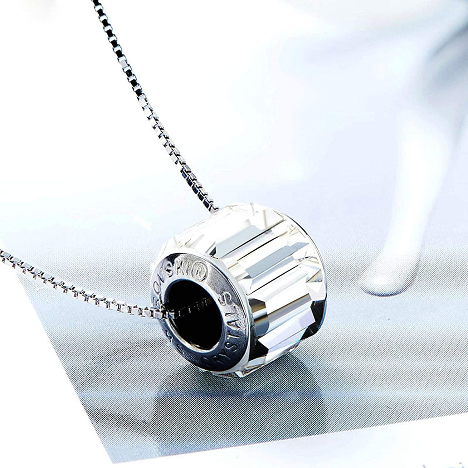Aooaz Silver Material Necklace Womens Girls Cylindrical Pendant Necklaces Silver Anniversary 40+5CM