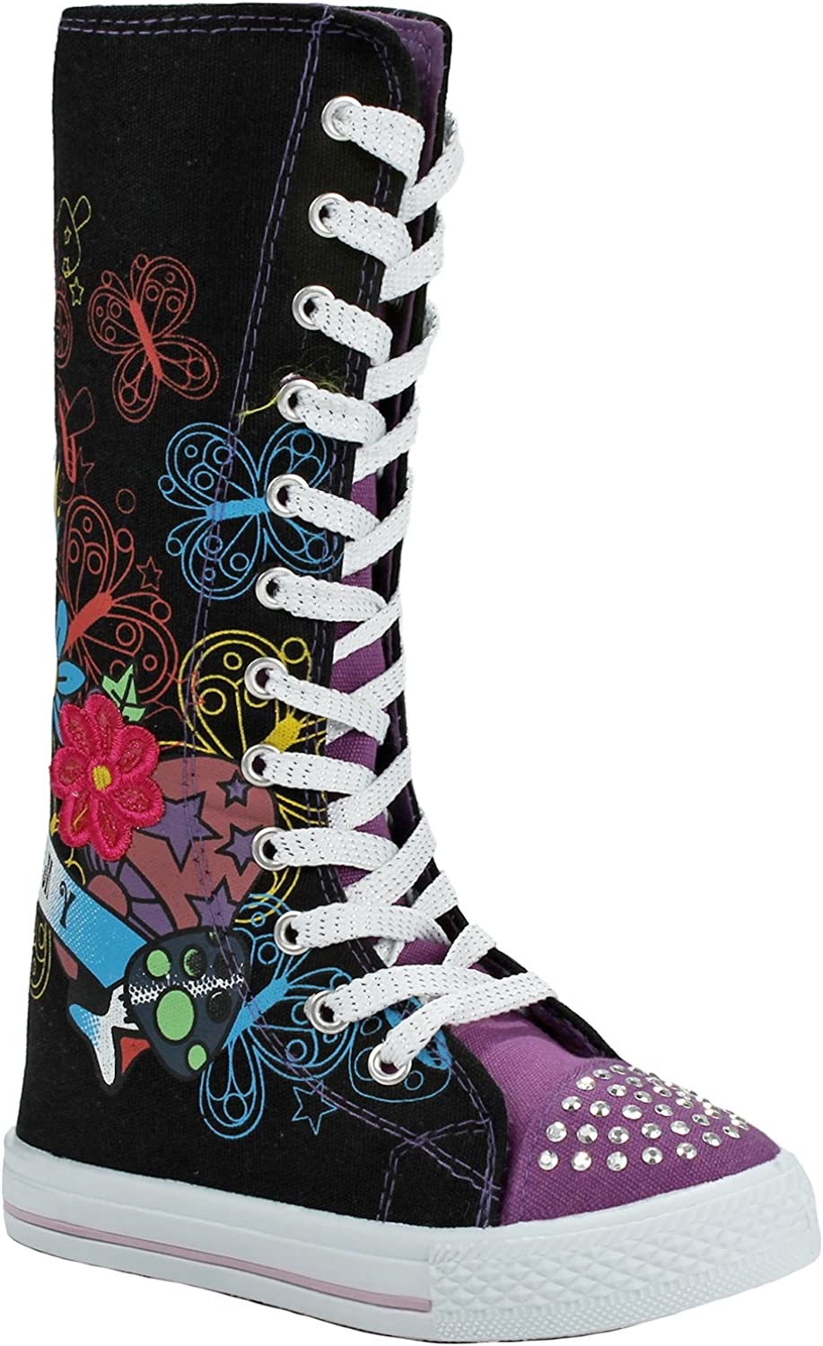 Girls Fashion Punk Sneakers Butterfly Floral Pattern Sequins Lace-up Zip High Top Canvas Boots