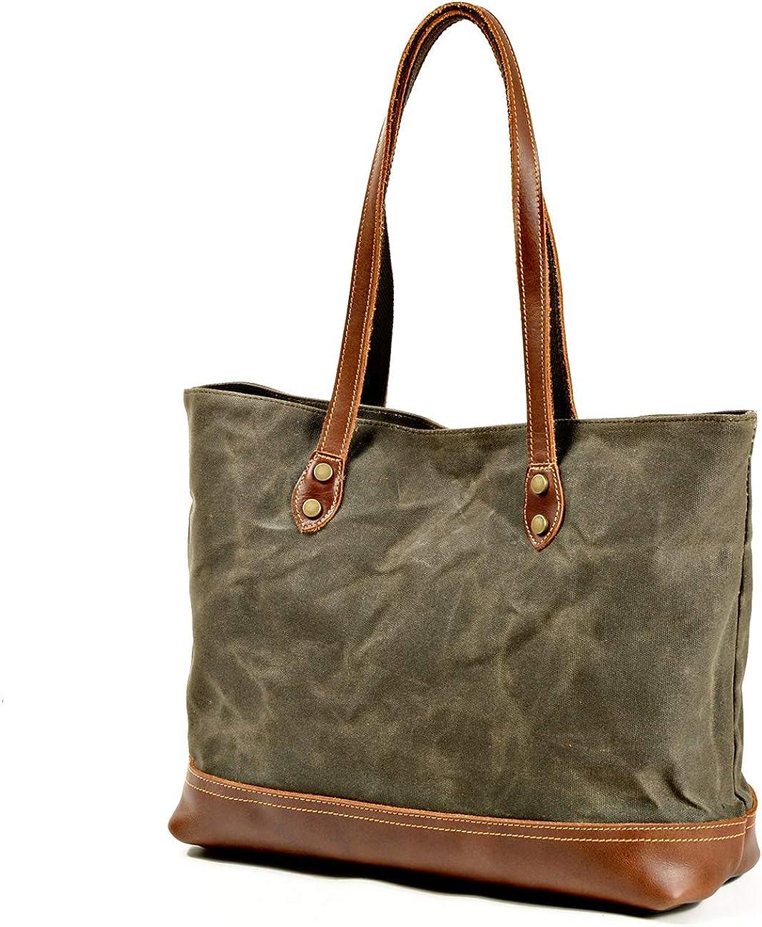 Jeelow Waxed Canvas Shoulder Tote Weekender Bag Travel Handbags For Men /& Women Leather Handles Water Proof