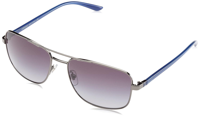 a7d1f1a03b0b2 Amazon.com  Versace 2153 10018G Gunmetal 2153 Square Aviator Sunglasses  Lens Category 3  Clothing