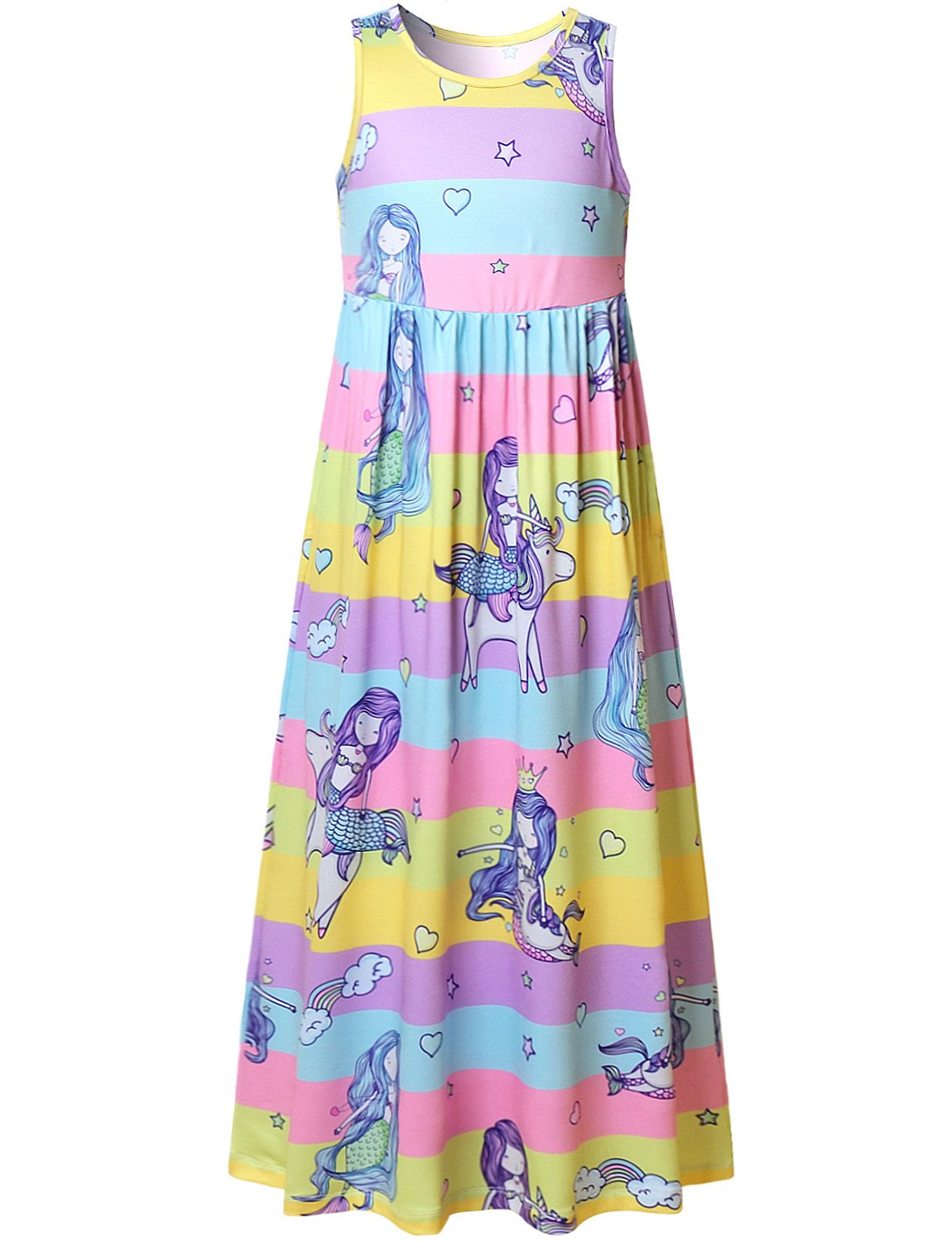 Girls Mermaid Unicorn Maxi Long Dress Rainbow Summer Cute Teens 7-16 Sleeveless