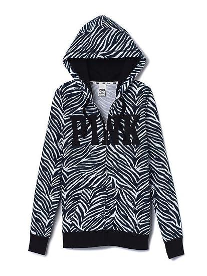 a1d08772ef1ba Victoria's Secret Pink Full Zip Wear Everywhere Hoodie Black Zebra